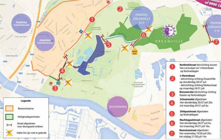 Het kaartje toont aan welke straten enkel bereikbaar zijn voor bewoners (lichtgroene zone) en waar het festivalverkeer zo veel mogelijk geweerd zal worden (oranje zone).
