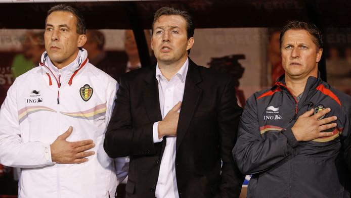 Philippe Vande Walle, ancien entraîneur des gardiens des Diables Rouges (ici avec Marc Wilmots et le T2 Vital Borkelmans).