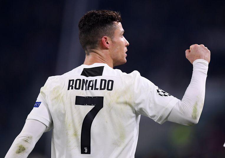 Cristiano Ronaldo na zijn derde doelpunt in de wedstrijd tegen Atlético Madrid. REUTERS/Alberto Lingria