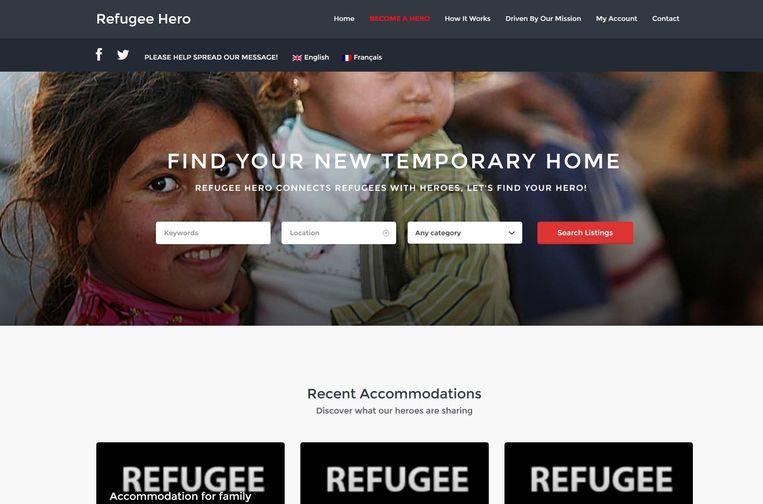 De homepagina van refugeehero.com Beeld