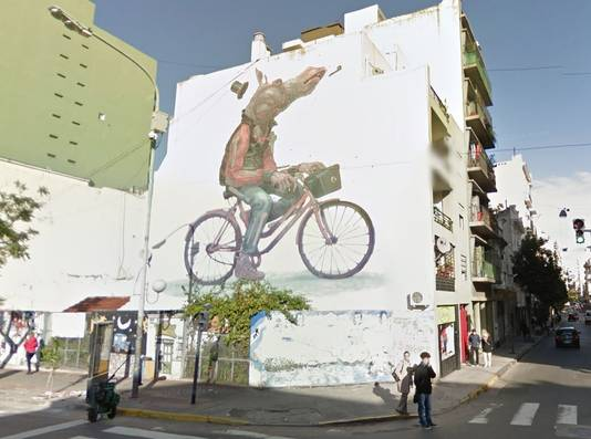 Straatkunst in Buenos Aires, Argentinië.