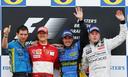 Het podium van de Grand Prix van Groot-Brittannië in 2006. Fernando Alonso won de race, voor Michael Schumacher en Kimi Räikkönen