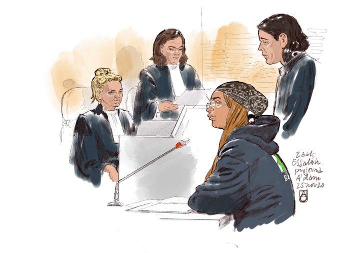 Tekening van Noura O. in de rechtbank.