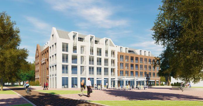 Zo komt het nieuwe dorpshart van Soesterberg eruit te zien. Links de Banningstraat.