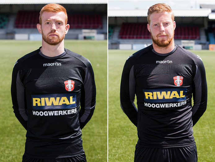 FC Dordrecht-doelmannen Renze Fij en Nick Wolters (rechts).