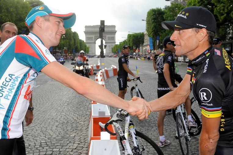 Jurgen Van den Broeck met Lance Armstrong.