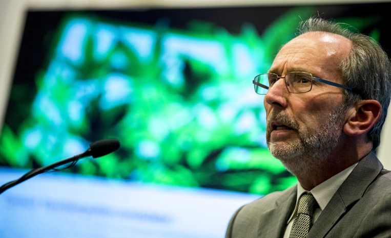 Voorzitter van de commissie die het experiment met door de staat gekweekte cannabis voorbereidt, prof. dr. André Knottnerus , presenteert het advies over hoe de proef eruit moet komen te zien. Beeld ANP