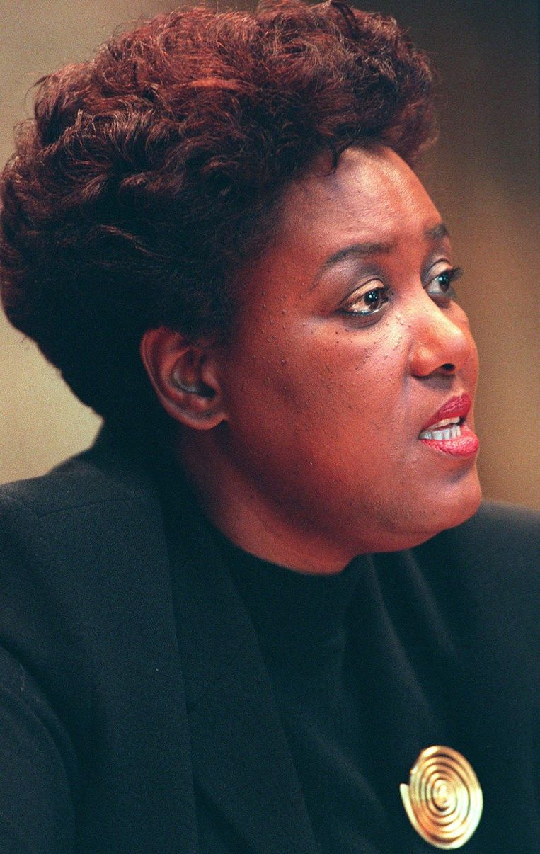 Maureen Sarucco tijdens het verhoor in 1999. Beeld Trouw