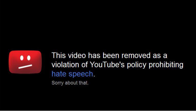 Google biedt zijn excuses aan omdat het een video heeft verwijderd van YouTube die zou aanzetten tot haat. Beeld