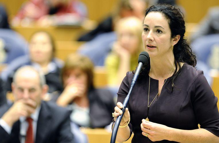 Femke Halsema tijdens een debat over de regeringsverklaring Beeld anp