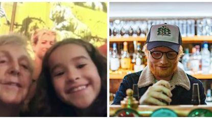 SHOWBITS. De dochter van Tiany Kiriloff maakt een selfie met Paul McCartney en Ed Sheeran staat achter de biertap