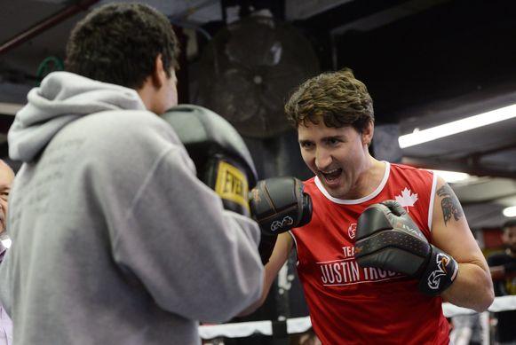 De Canadese premier is een getraind amateurbokser en stapt nog geregeld in de ring, zoals hier in Brooklyn, waar hij trainde met kansarme jongeren.