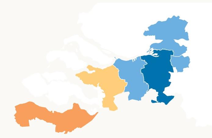 Verkoopprijsontwikkeling in West-Brabant en Zeeuws-Vlaanderen.
