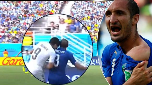 Op het WK van 2014 beet Suarez Chiellini in de schouder.