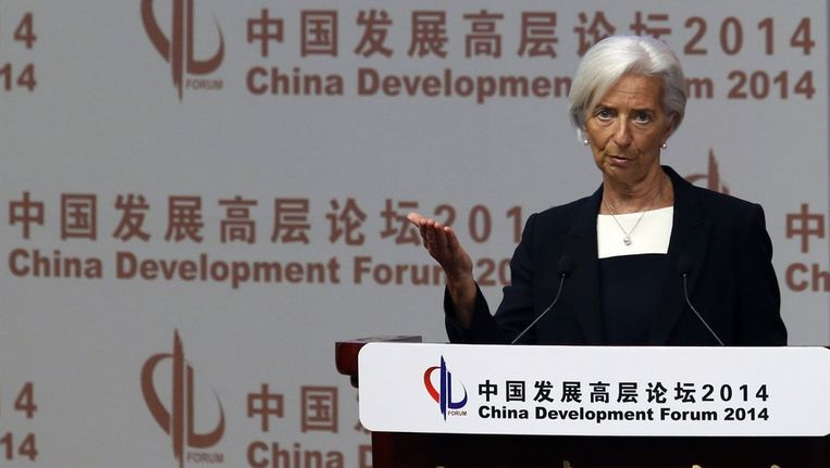 IMF-topvrouw Christine Lagarde in China. Beeld reuters
