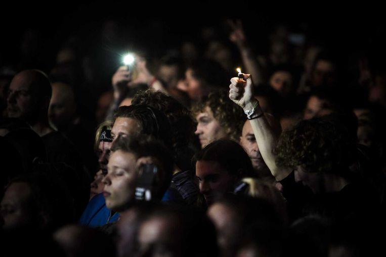 Publiek tijdens de minuut stilte op Speedfest. Beeld anp