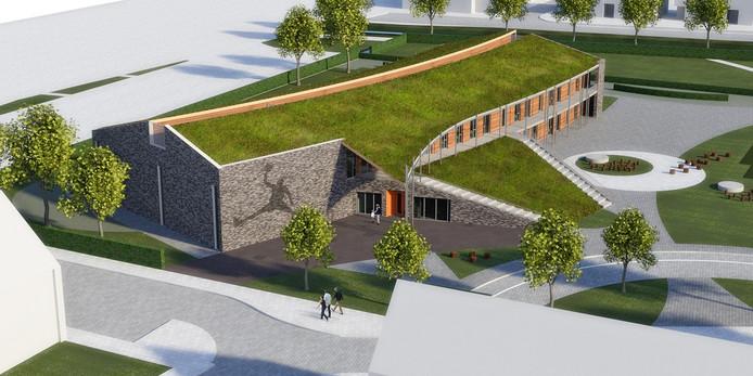 Een impressie van het toekomstige Kindcentrum Zanddonk, waar onder meer de leerlingen van de Waalwijkse scholen Pater van der Geld en Van der Heijden onderdak gaan vinden.