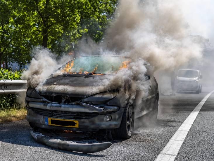 Auto vat vlam op A27 bij Oosterhout, inspanning van brandweer ten spijt