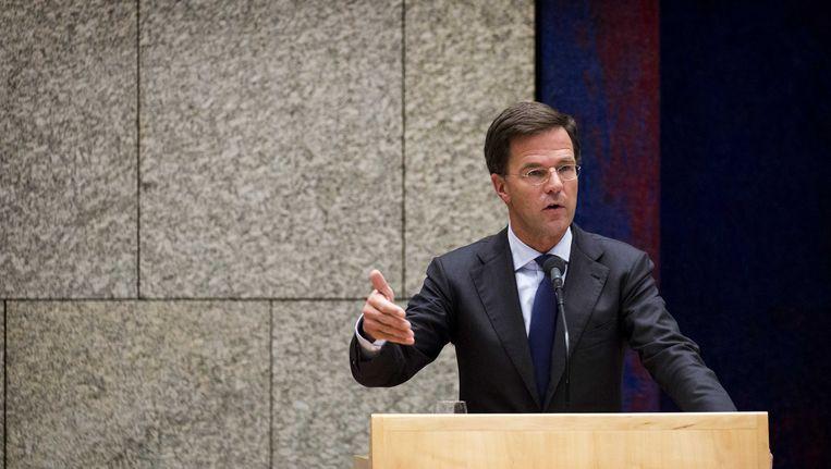 Premier Rutte bij het debat over de Teevendeal. Beeld anp