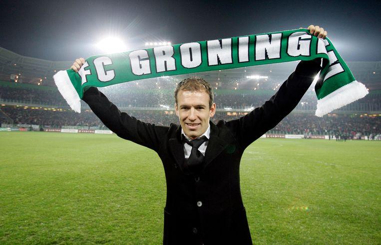Als speler van Chelsea opende Robben in 2006 het nieuwe stadion van FC Groningen. Beeld Hollandse Hoogte /  ANP
