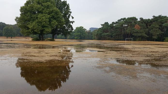 Het Goffertpark lag vol met plassen.