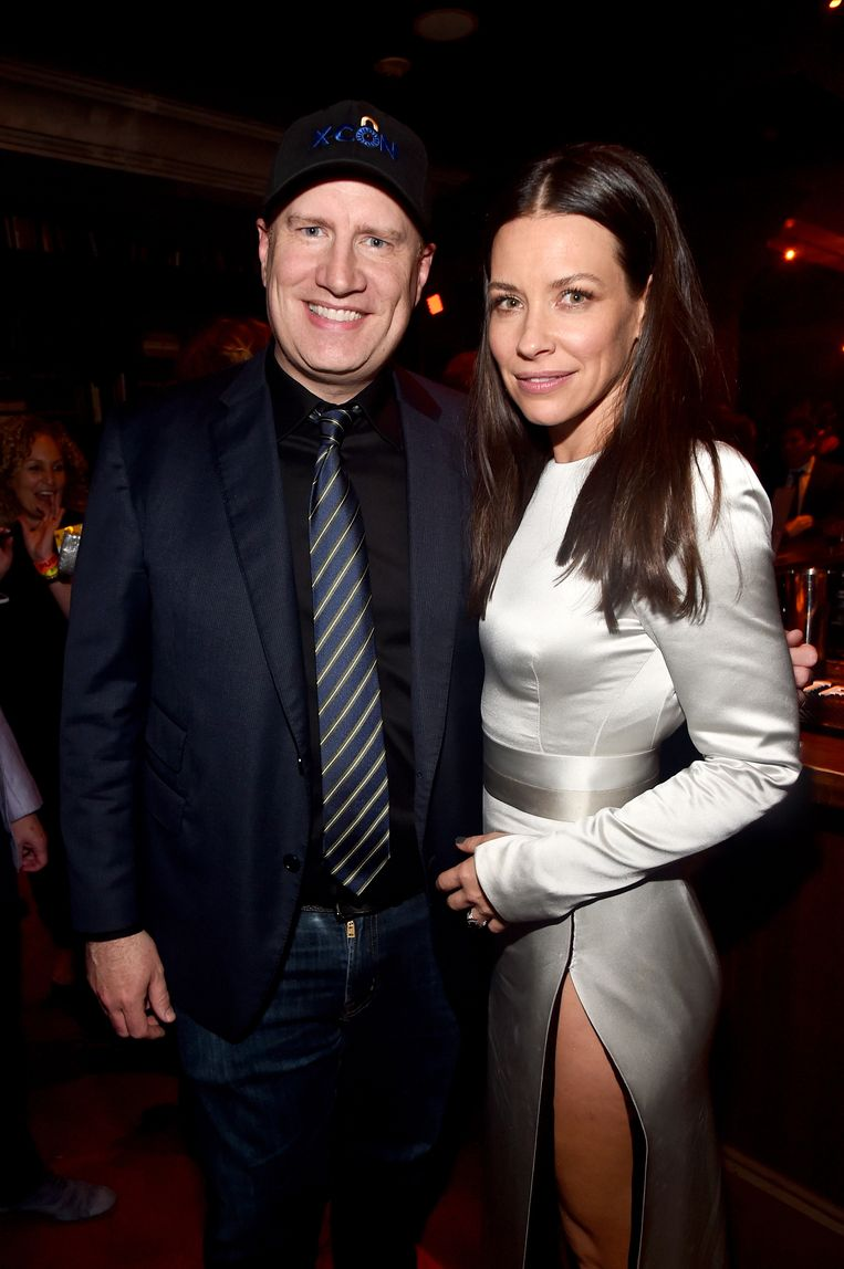 Producer Kevin Feige met 'Ant-Man And The Wasp'-actrice Evangeline Lilly.
