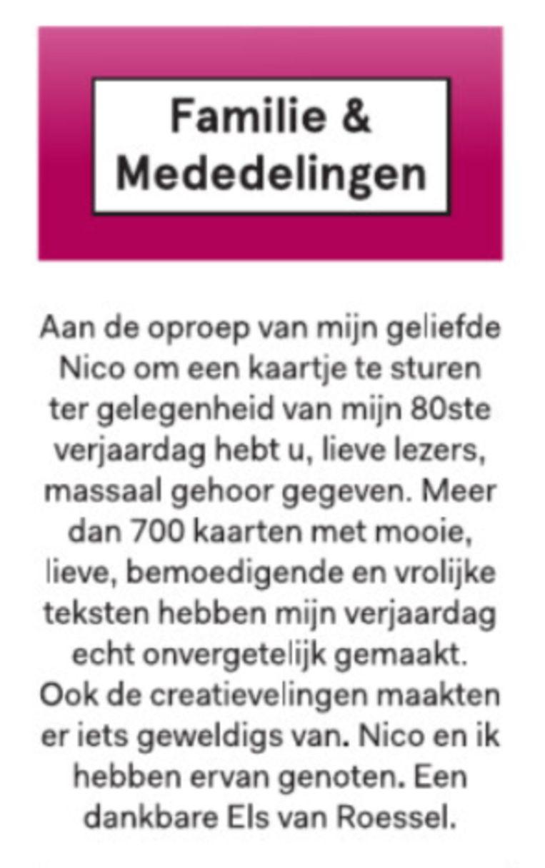 De advertentie die Els van Roessel zaterdag 2 mei plaatste. Beeld Gidi Heesakkers