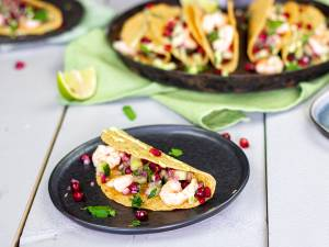 Wat Eten We Vandaag: Taco's met garnalen en granaatappelsalsa