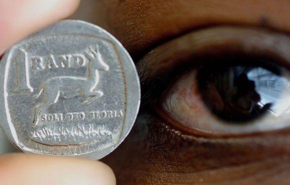 Een munstuk van 1 Rand, de Zuid-Afrikaanse  munteenheid.