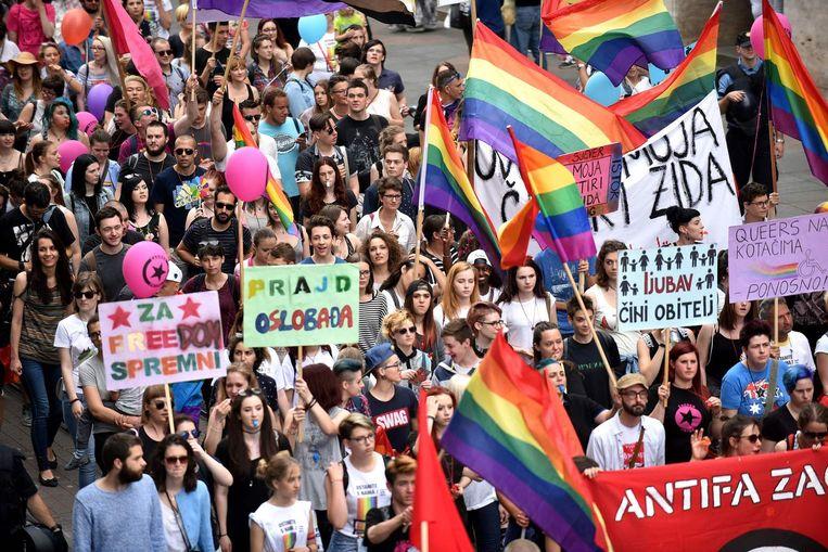 De Gay Pride parade in Zagreb Beeld afp