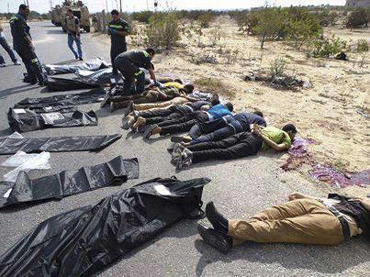 Doodgeschoten agenten die nabij Rafah in een hinderlaag liepen. Beeld null