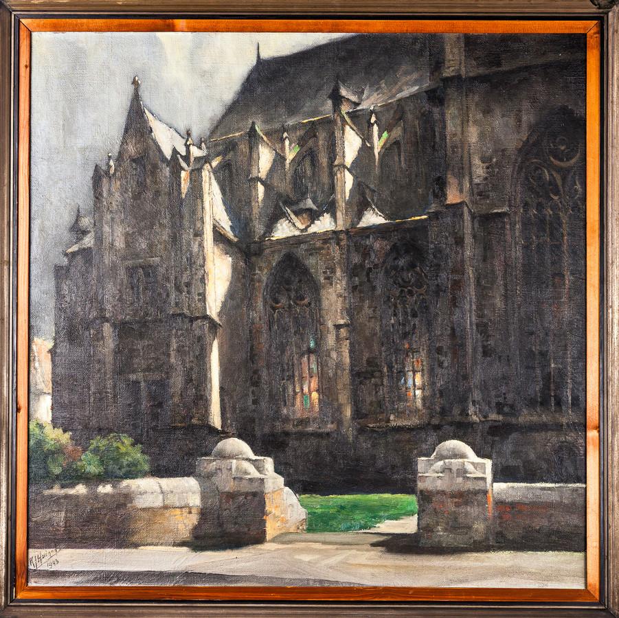 K.J. Huineman: Noordingang Basiliek Hulst, 1943, olieverf.