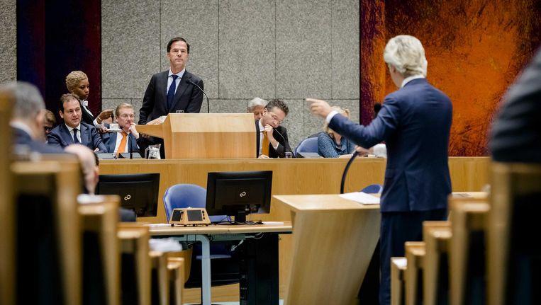 PVV-leider Geert Wilders, gisteren tijdens de Algemene Politieke Beschouwingen Beeld anp