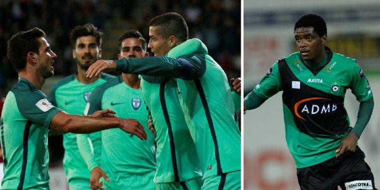 Links onder meer Ronaldo en André Gomes, rechts William Carvalho.