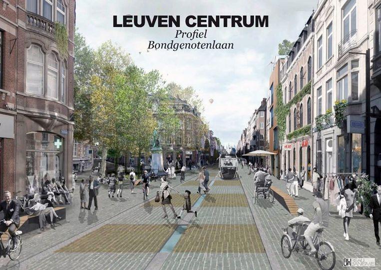 Een simulatie van hoe de Bondgenotenlaan in Leuven er in de toekomst zou kunnen uitzien.