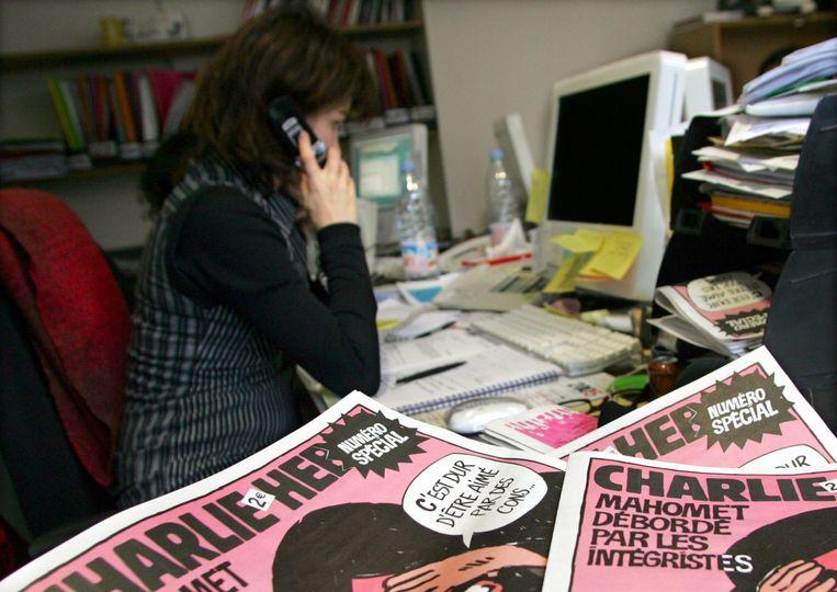 Op de redactie van Charlie Hebdo Beeld reuters