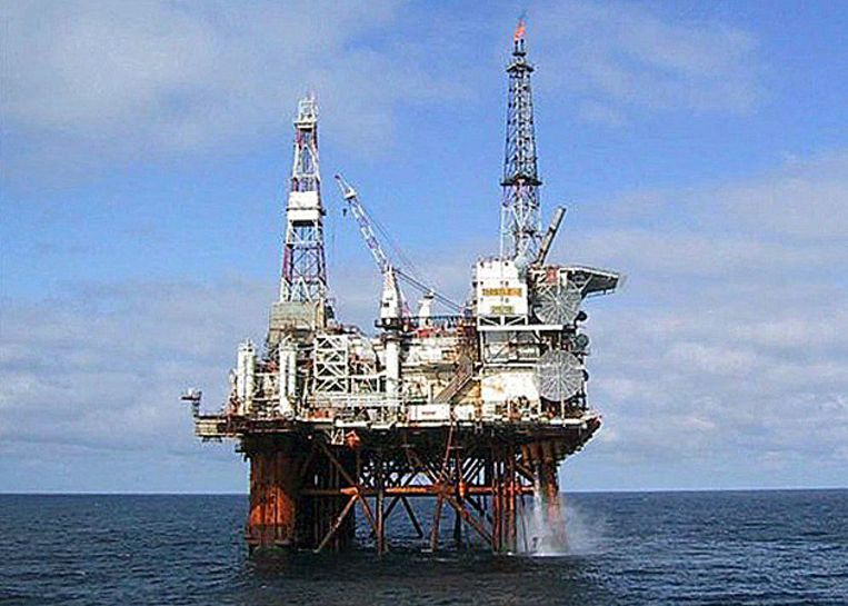 Een boorplatform voor olie in de Noordzee. © EPA Beeld