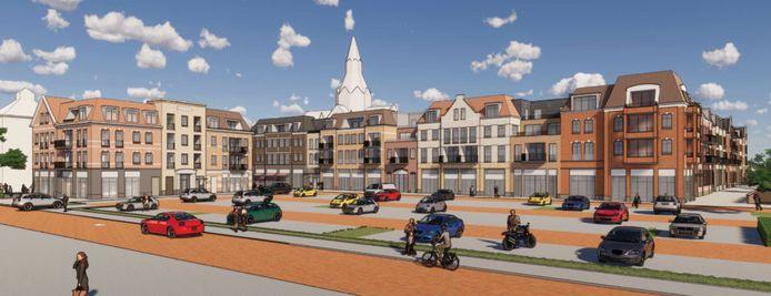 Impressie van het nieuwe woon- winkelcentrum Marktveldpassage in Vught gezien vanaf de Dokter Hillenlaan.