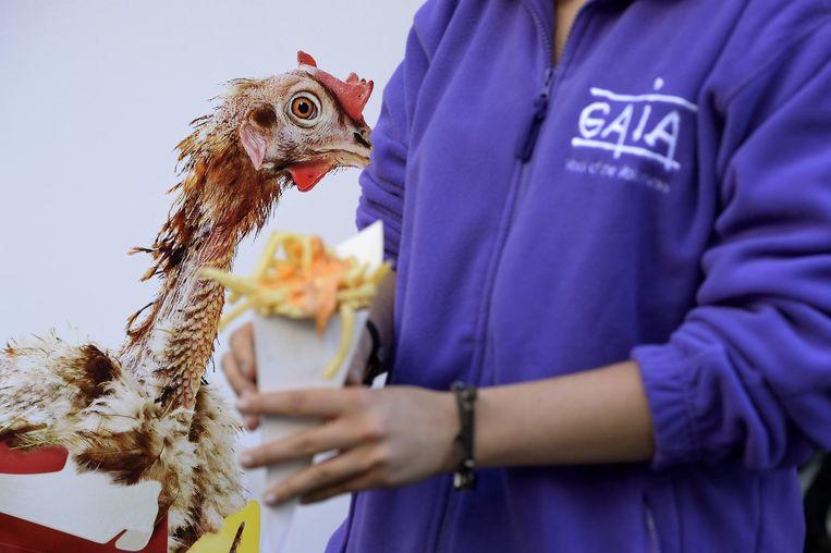 GAIA voert actie tegen de mayonnaise van hamburgerketen Quick.