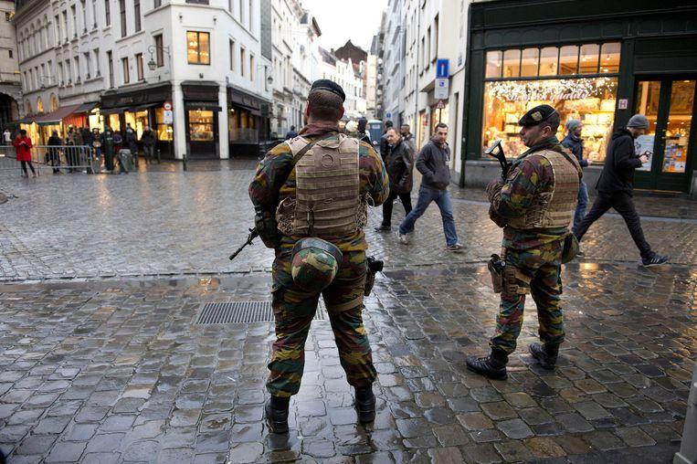 Militairen in het centrum van Brussel vanwege verhoogde terreurdreiging Beeld anp