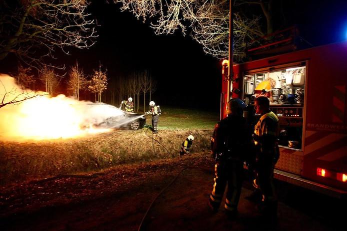 Auto in brand in bosgebied Oosterhout.