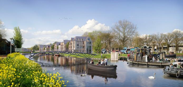 Het toekomstige Sluiseiland in Vianen door de ogen van de bouwer. Er moeten 184 huizen komen.