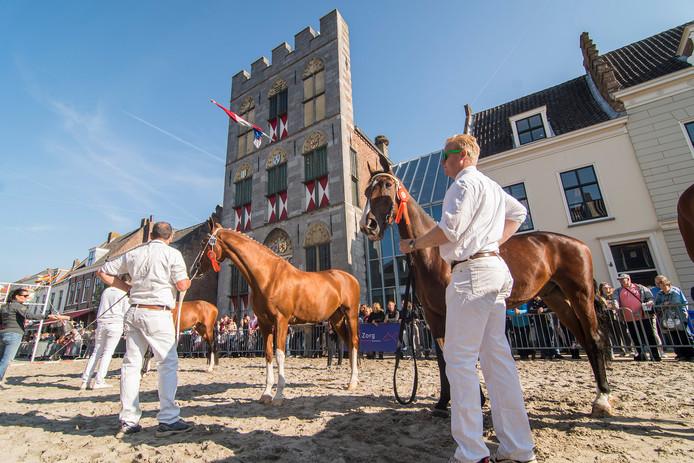 Winnaars van een onderdeel van de paardenkeuring op de Voorstraat in Vianen.