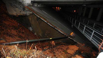 Grondverzakking onder brug A201