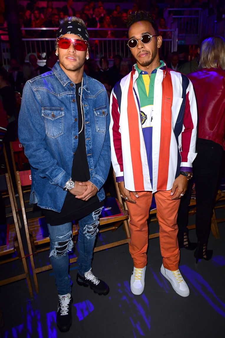Neymar en Lewis Hamilton vorige week op de Tommy Hilfiger Front Row tijdens de Londense Fashion Week.
