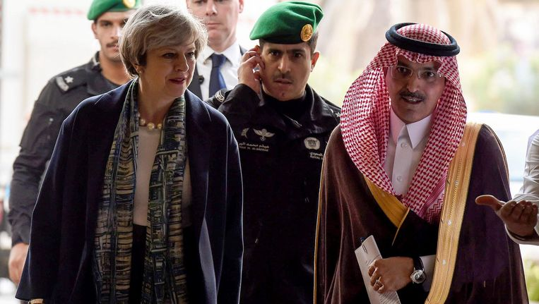 De Britse premier Theresa May in Saoedi-Arabië in april.