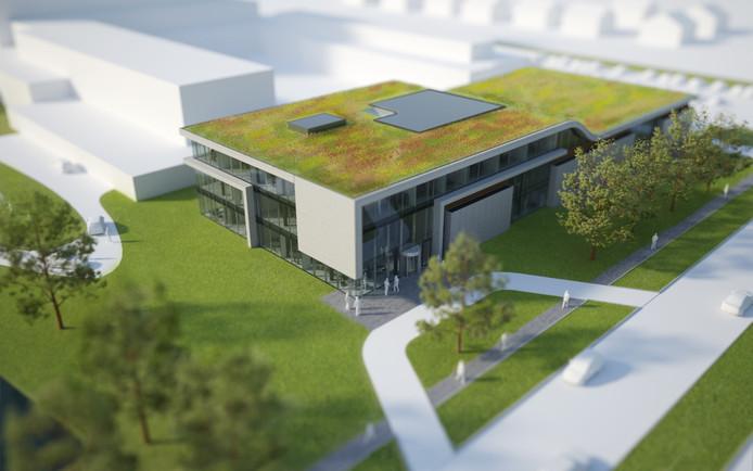 Het ontwerp voor de nieuwbouw van het radiotherapiecentrum bij MCH Antoniushove.