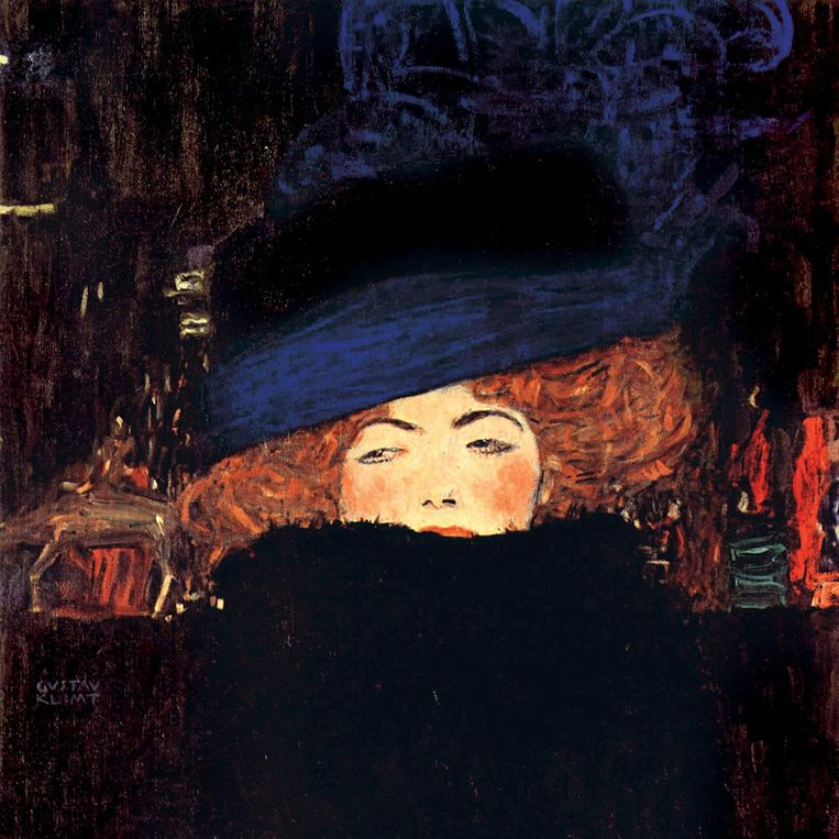 Gustav Klimt, Lady with a hat and feather boa, 1909. Beeld Privécollectie