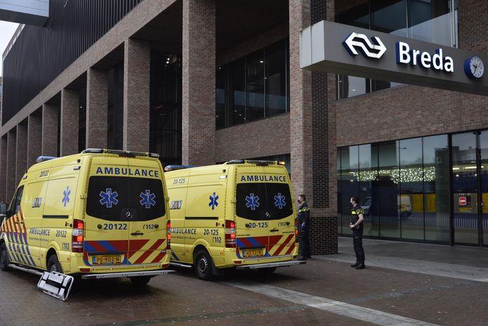 Meerdere hulpdiensten bij station Breda.