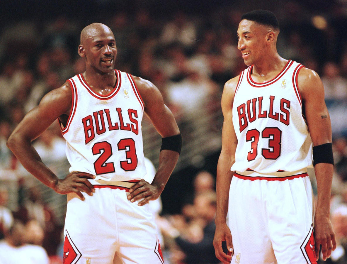 Michael Jordan en Scottie Pippen.